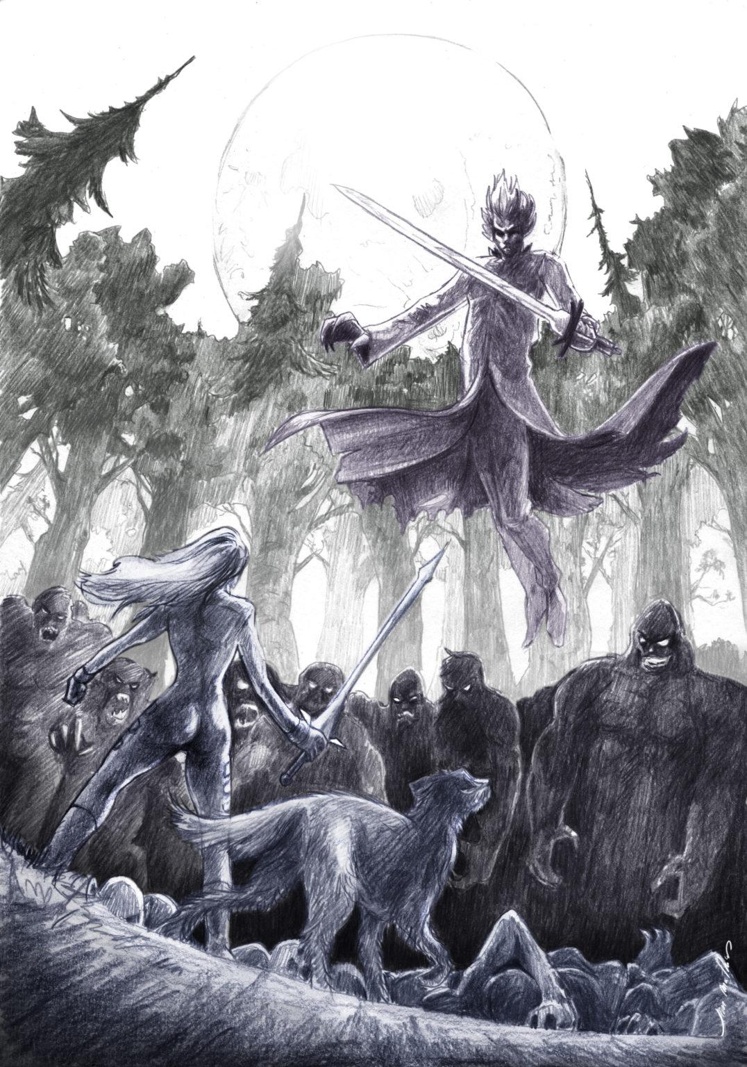 Un homme tenant une épée vole au dessus de la foule