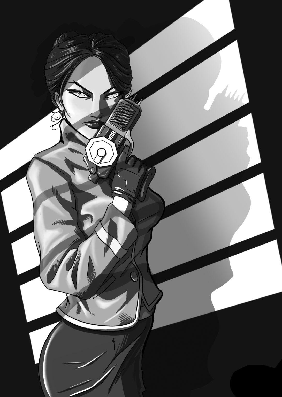 Inspectrice tenant un pistolet