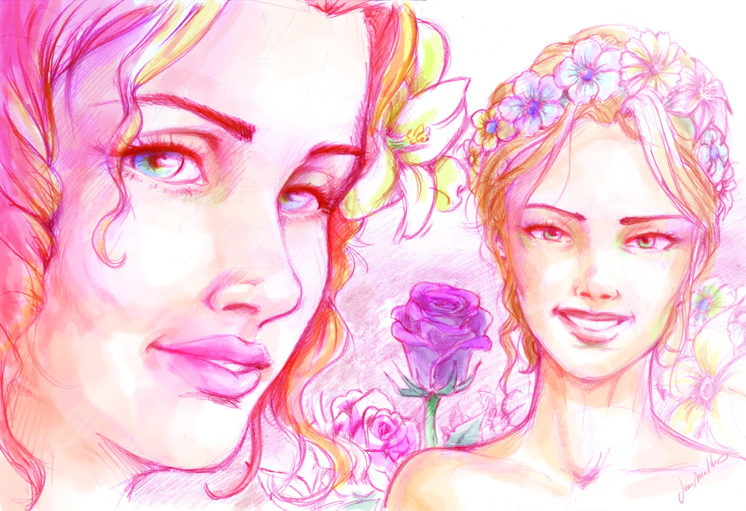 Deux femmes avec des couronnes de fleurs